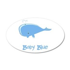 Baby Blue Whale 22x14 Oval Wall Peel