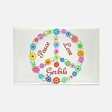 Peace Love Gerbils Rectangle Magnet
