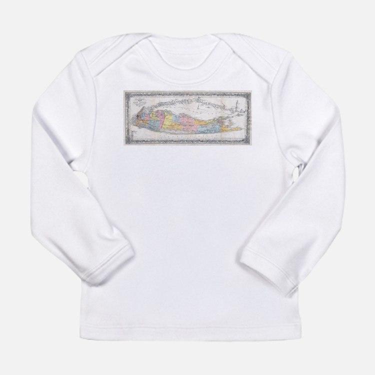 Vintage Map of Long Island New Long Sleeve T-Shirt