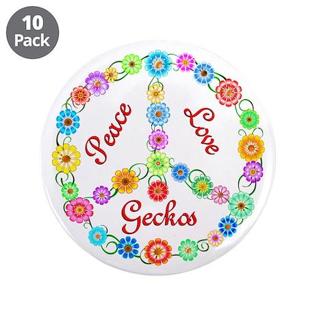 "Peace Love Geckos 3.5"" Button (10 pack)"