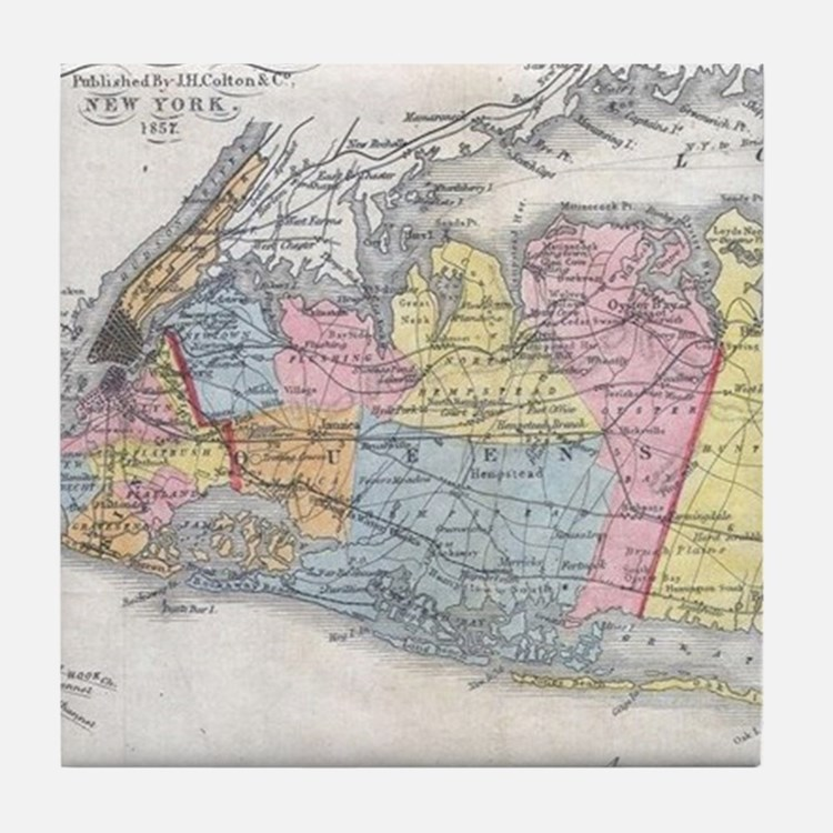 Vintage Map of Long Island New York ( Tile Coaster