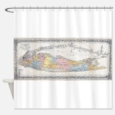 Vintage Map of Long Island New York Shower Curtain