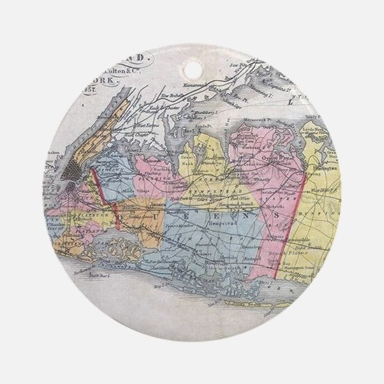 Vintage Map of Long Island New York Round Ornament