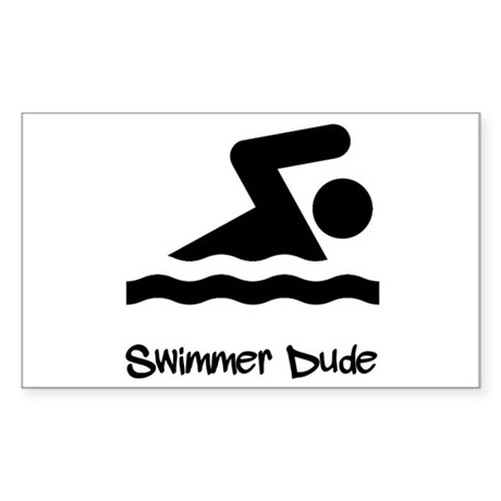Swimmer Dude Sticker (Rectangle)