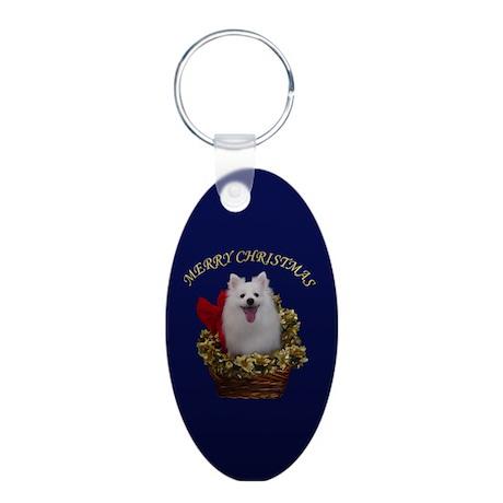 American Eskimo Dog Aluminum Oval Keychain