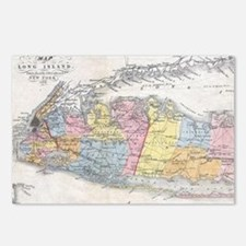 Vintage Map of Long Islan Postcards (Package of 8)