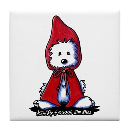 Red Riding Hood Westie Tile Coaster