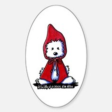 Red Riding Hood Westie Sticker (Oval 10 pk)