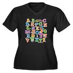 ABC Animals Women's Plus Size V-Neck Dark T-Shirt