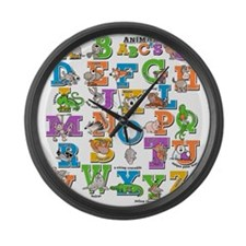 ABC Animals Large Wall Clock