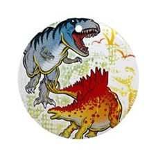 T-Rex fight Ornament (Round)