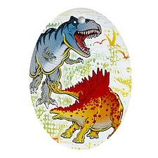 T-Rex fight Ornament (Oval)