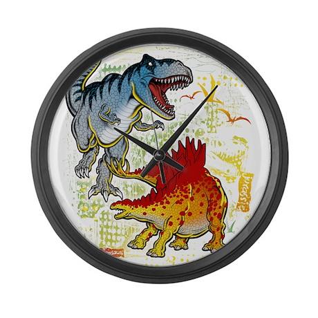 T-Rex fight Large Wall Clock