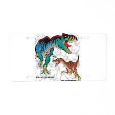 Rex and Velociraptor Aluminum License Plate