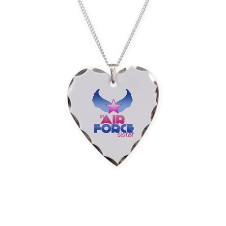 Air Force Sister - Wings - Necklace Heart Charm