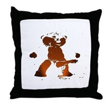 LEATHER BEAR_brown/black_cartoonish_ Throw Pillow