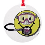 Diving Smiley - pink Ornament