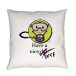 Diving Smiley - pink Everyday Pillow