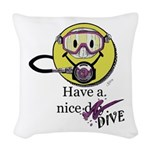 Diving Smiley - pink Woven Throw Pillow