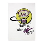 Diving Smiley - pink 5'x7'Area Rug