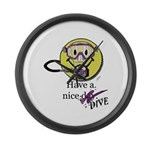 Diving Smiley - pink Large Wall Clock
