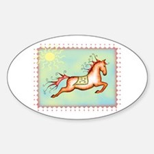 Sunny Sky Capriole Horse Oval Decal