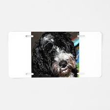 Cute Portuguese water dog Aluminum License Plate