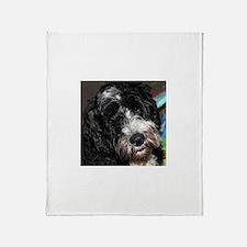 Cute Portuguese water dog Throw Blanket