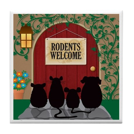 Rodents Welcome Tile Coaster