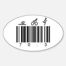 Bar Code 70.3 Sticker (Oval)