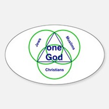 Three Religions under One God Oval Decal