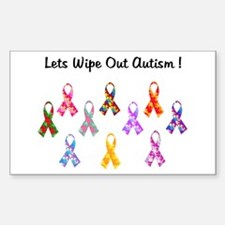 Lets Wipe Out Autism! Rectangle Decal