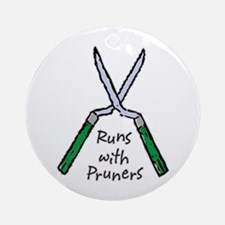Runs with Pruners Ornament (Round)