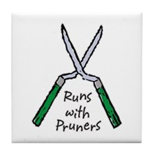 Runs with Pruners Tile Coaster