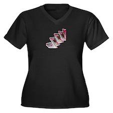 Pink Poker Women's Plus Size V-Neck Dark T-Shirt