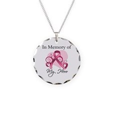 Breast Cancer In Memory Hero Necklace Circle Charm
