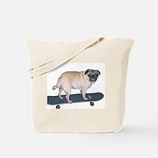 Skateboard Pug Tote Bag