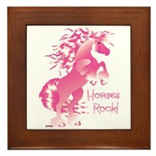 Horses Rock Pink Framed Tile