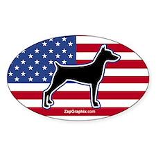 USA Doberman Oval Bumper Stickers