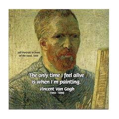 Vincent Van Gogh Quote Tile Coaster