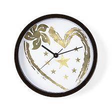 Golden heart floral stars Wall Clock