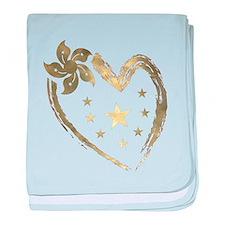 Golden heart floral stars baby blanket