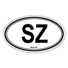 Swaziland (SZ) euro Oval Decal