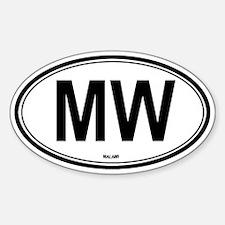 Malawi (MW) euro Oval Decal