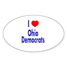 I Love (Heart) Ohio Democrats Oval Decal