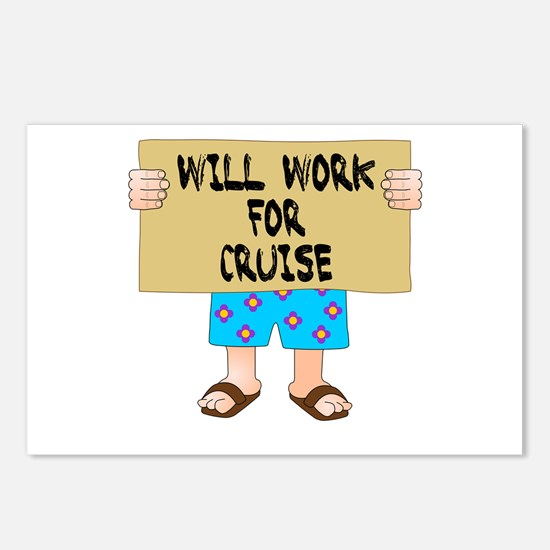 Will Work for Cruise Postcards (Package of 8)