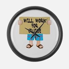 Will Work for Cruise Large Wall Clock