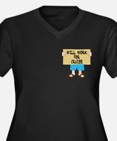 Will Work for Cruise Women's Plus Size V-Neck T