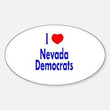 I Love/Heart Nevada Democrats Oval Decal