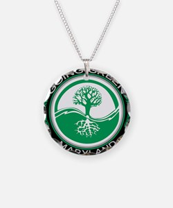 Unique Living green Necklace Circle Charm